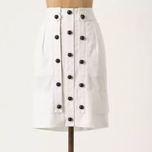 Anthropologie Dice Notation White Pencil Skirt